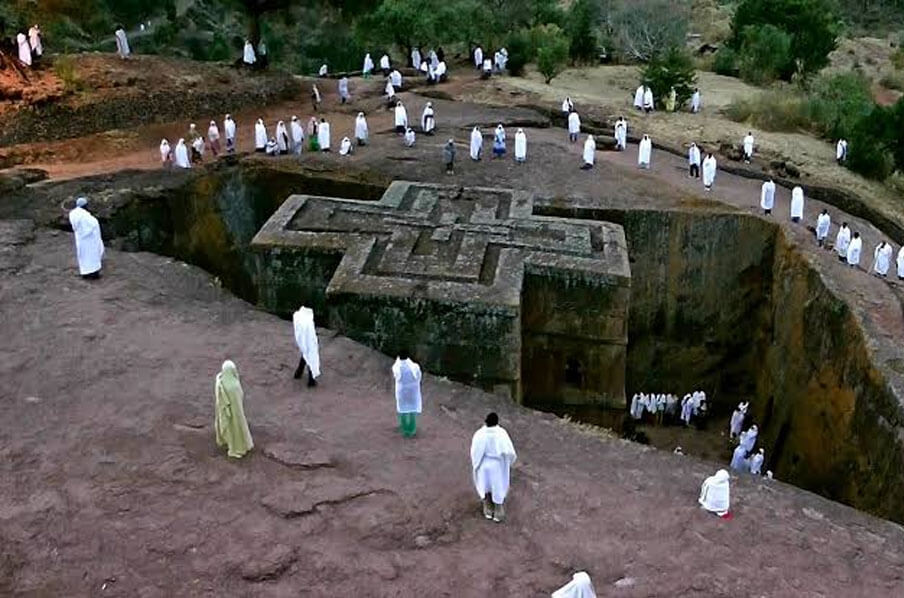 Worked from solid stones, the Rock-Hewn church in Ethiopia has a cross-formed plan