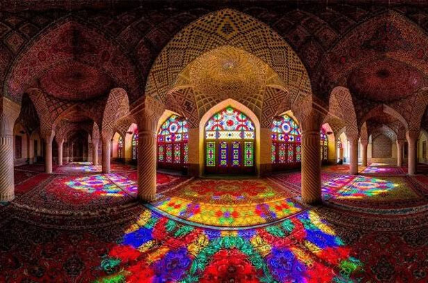 Joining an exemplary plan loaded up with recolored glass and mosaics makes the Nasir al-Mulk mosque, Iran